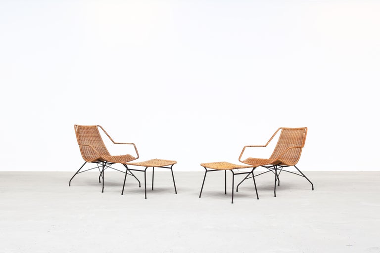 Pair of Rattan Lounge Chairs by Carlo Hauner & Martin Eisler For Sale 7