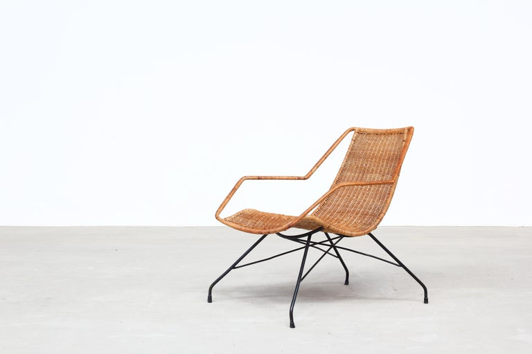20th Century Pair of Rattan Lounge Chairs by Carlo Hauner & Martin Eisler For Sale