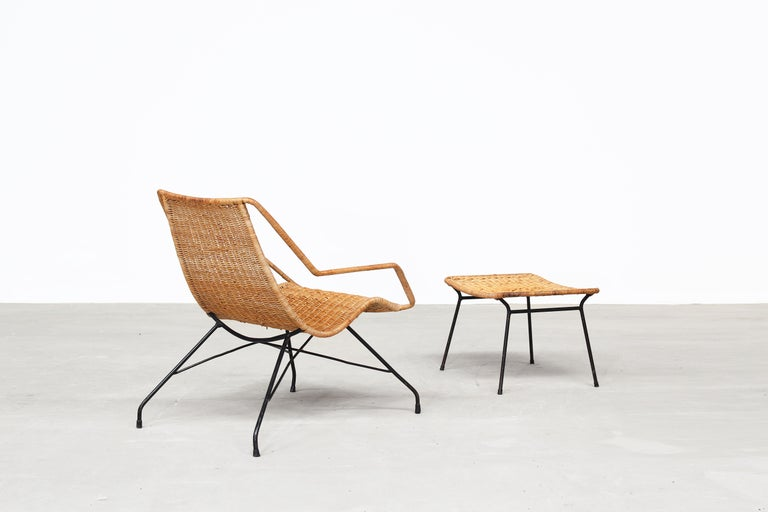 Pair of Rattan Lounge Chairs by Carlo Hauner & Martin Eisler For Sale 2