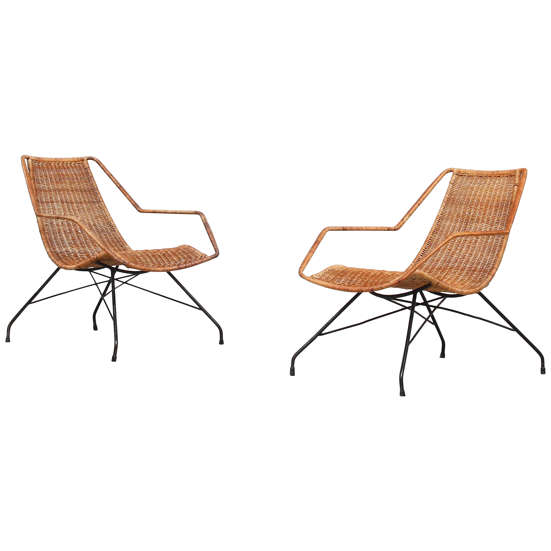 Pair of Rattan Lounge Chairs by Carlo Hauner & Martin Eisler