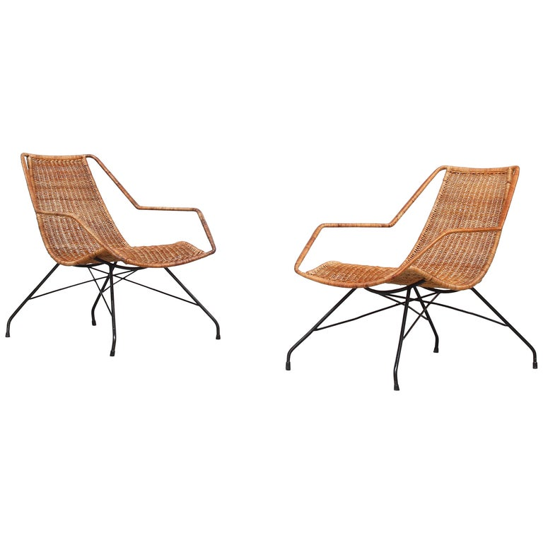Pair of Rattan Lounge Chairs by Carlo Hauner & Martin Eisler For Sale