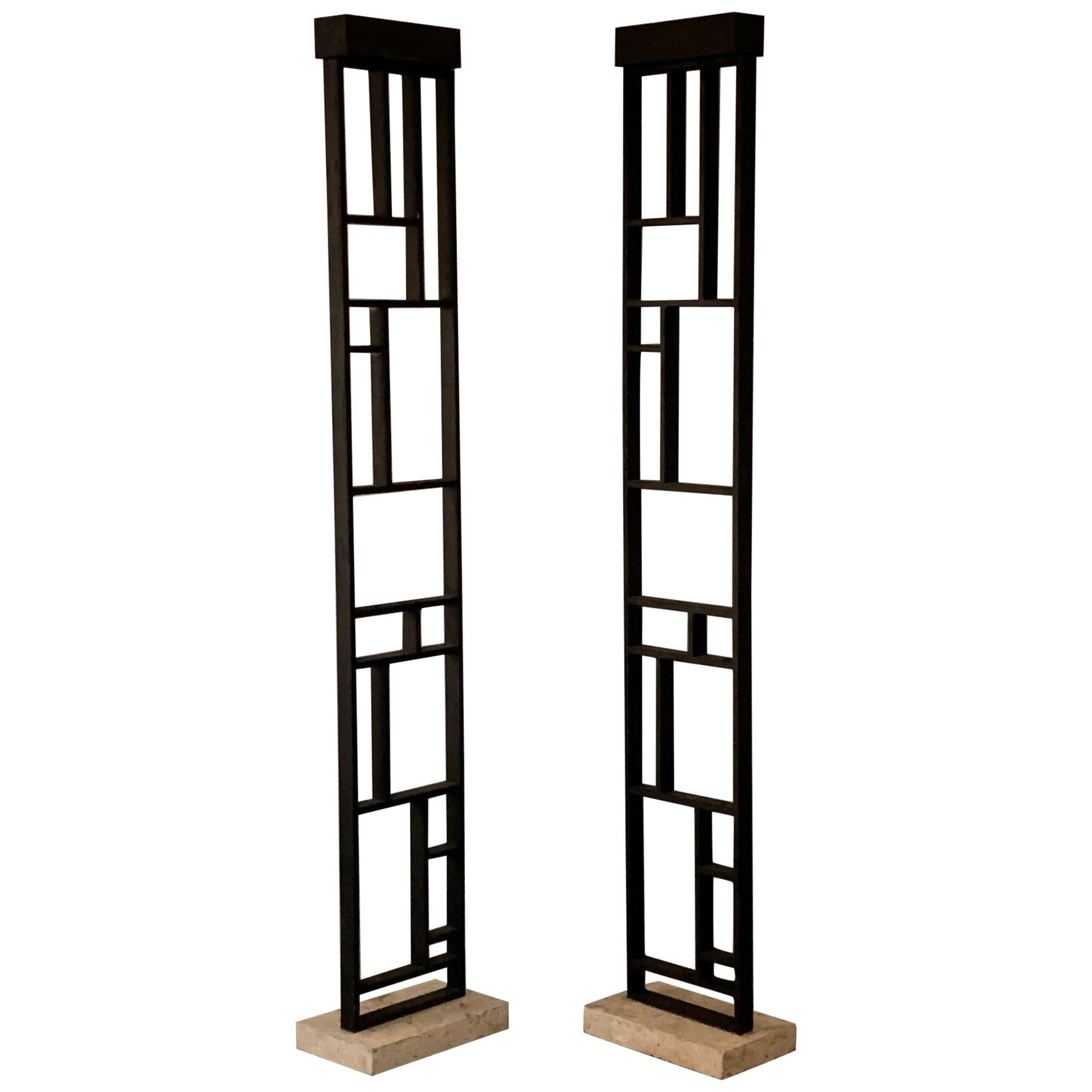 Pair of Unusual Architectural Lamps with Travertine Bases