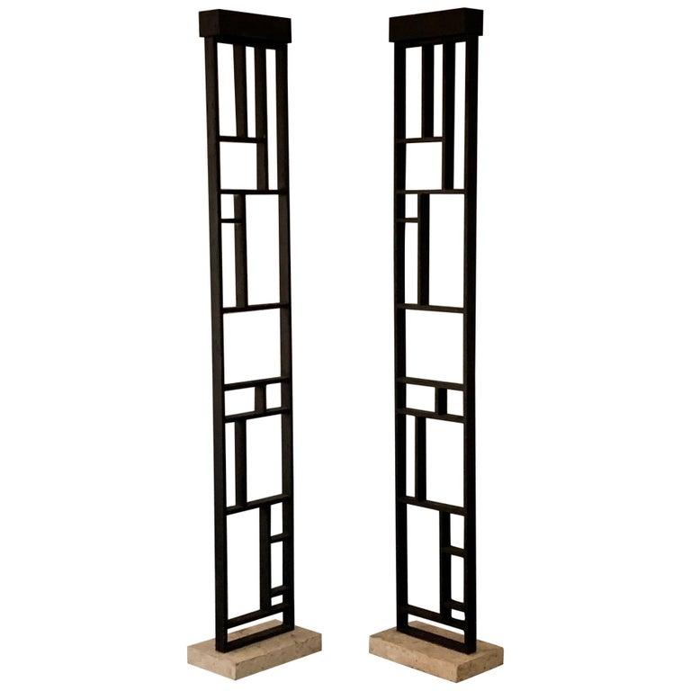 Pair of Unusual Architectural Lamps with Travertine Bases For Sale