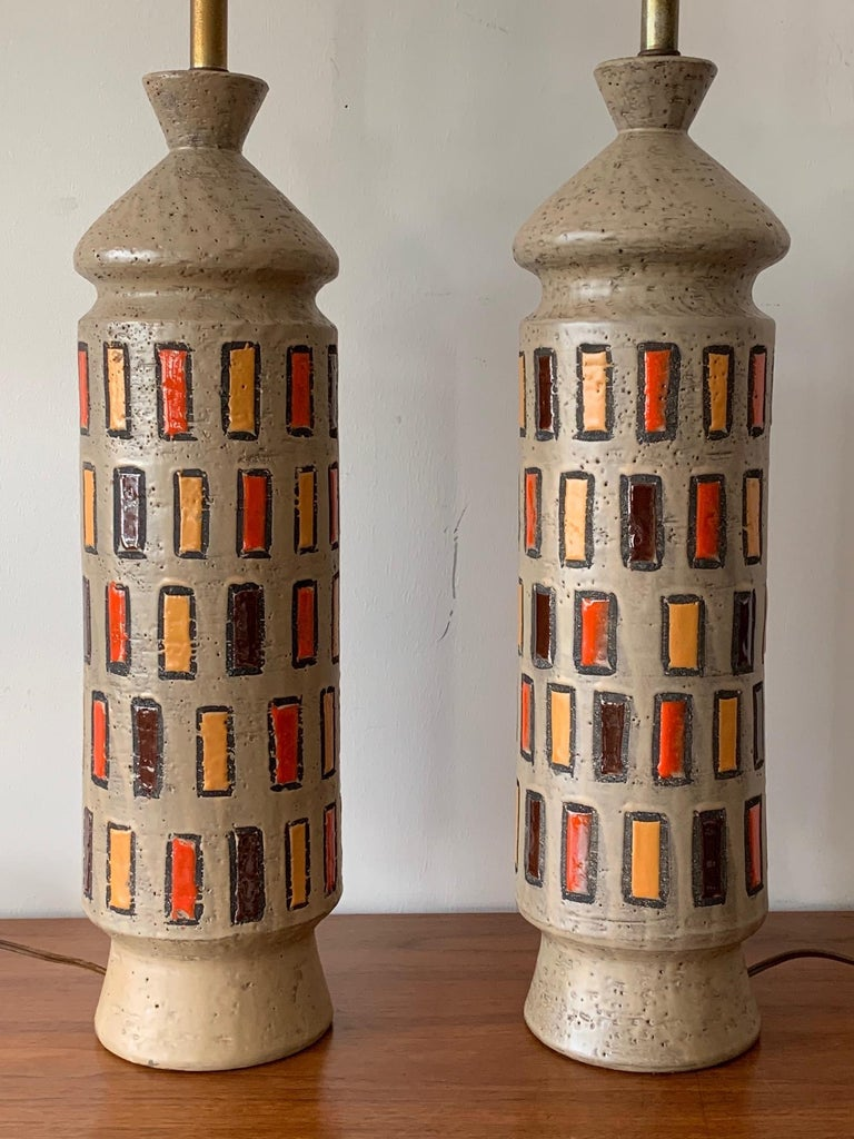 Pair of Unusual Bitossi Lamps For Sale 4
