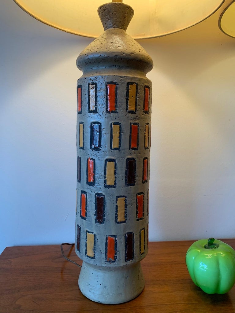 Pair of Unusual Bitossi Lamps For Sale 2