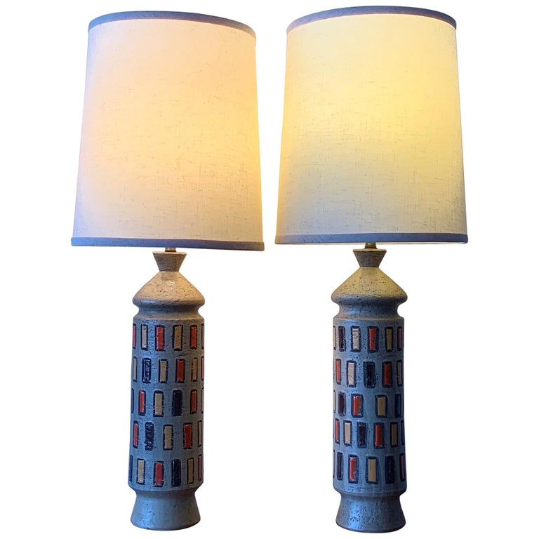 Pair of Unusual Bitossi Lamps For Sale