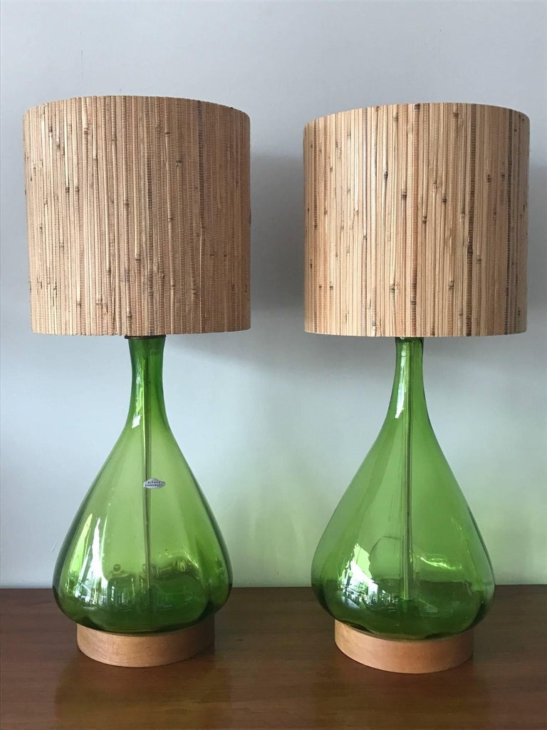 American Pair of Unusual Blenko Olive Green Glass Lamps For Sale