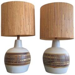 Pair of Unusual Ceramic Lamps by Gordon Martz