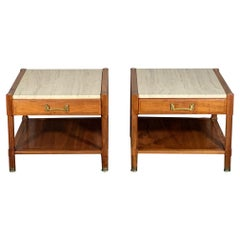 Pair of Unusual Heritage Henredon Nightstands with Travertine Tops