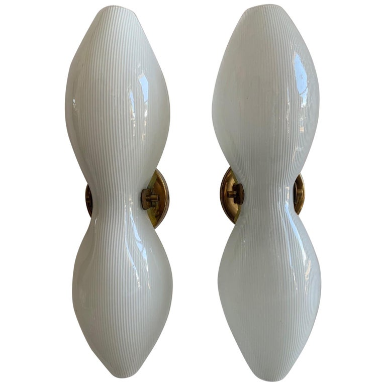 Pair of Unusual Lightolier Sconces For Sale
