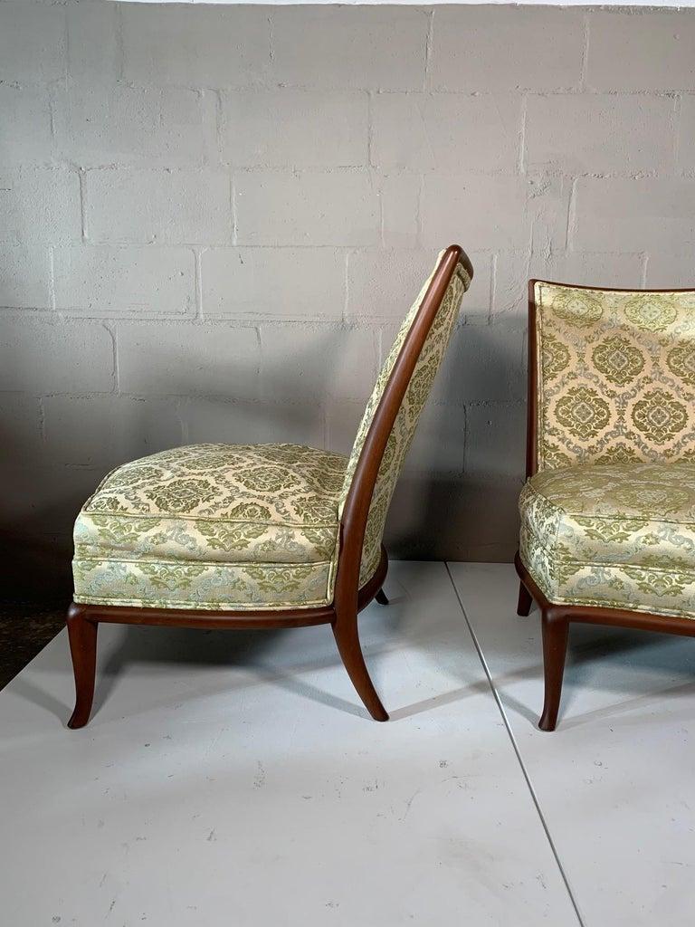 Pair of Unusual Slipper Chairs by T.H. Robsjohn-Gibbings Widdicomb, circa 1950s For Sale 3