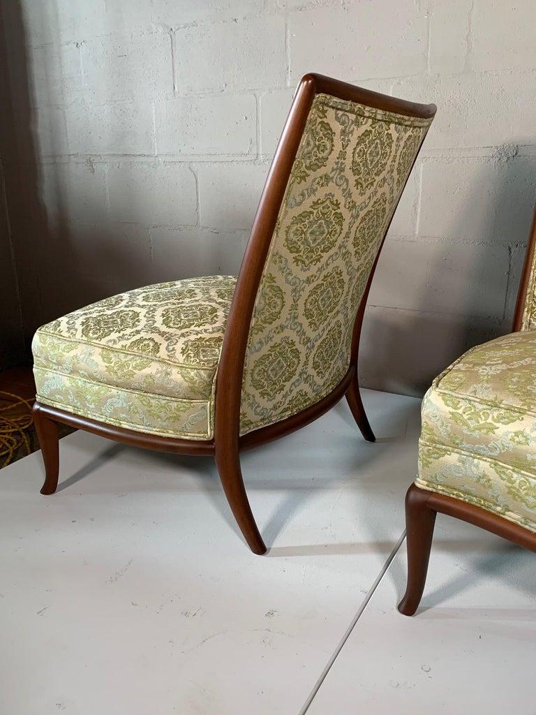 Pair of Unusual Slipper Chairs by T.H. Robsjohn-Gibbings Widdicomb, circa 1950s For Sale 4