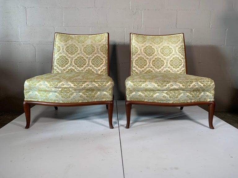Pair of Unusual Slipper Chairs by T.H. Robsjohn-Gibbings Widdicomb, circa 1950s For Sale 9