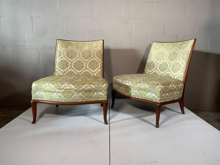 Pair of Unusual Slipper Chairs by T.H. Robsjohn-Gibbings Widdicomb, circa 1950s For Sale 10