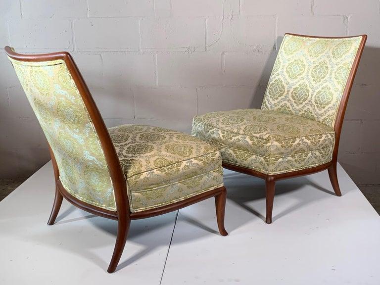 Pair of Unusual Slipper Chairs by T.H. Robsjohn-Gibbings Widdicomb, circa 1950s For Sale 11