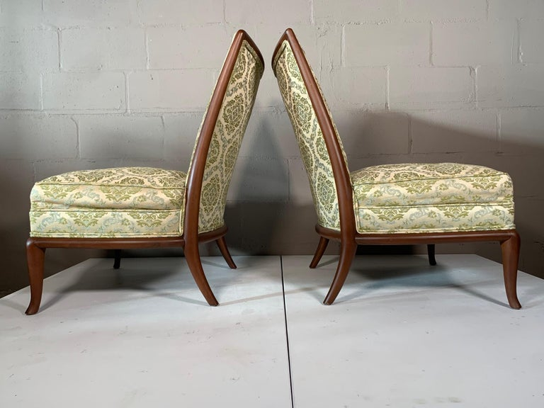 Mid-Century Modern Pair of Unusual Slipper Chairs by T.H. Robsjohn-Gibbings Widdicomb, circa 1950s For Sale