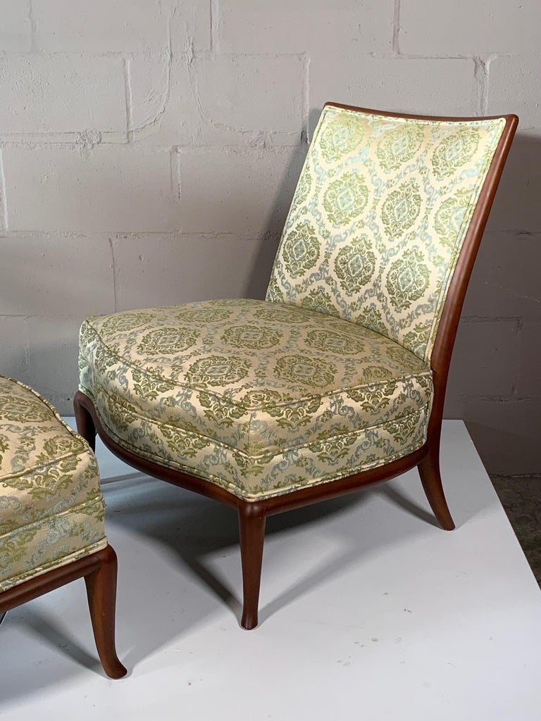 Pair of Unusual Slipper Chairs by T.H. Robsjohn-Gibbings Widdicomb, circa 1950s In Good Condition For Sale In St.Petersburg, FL