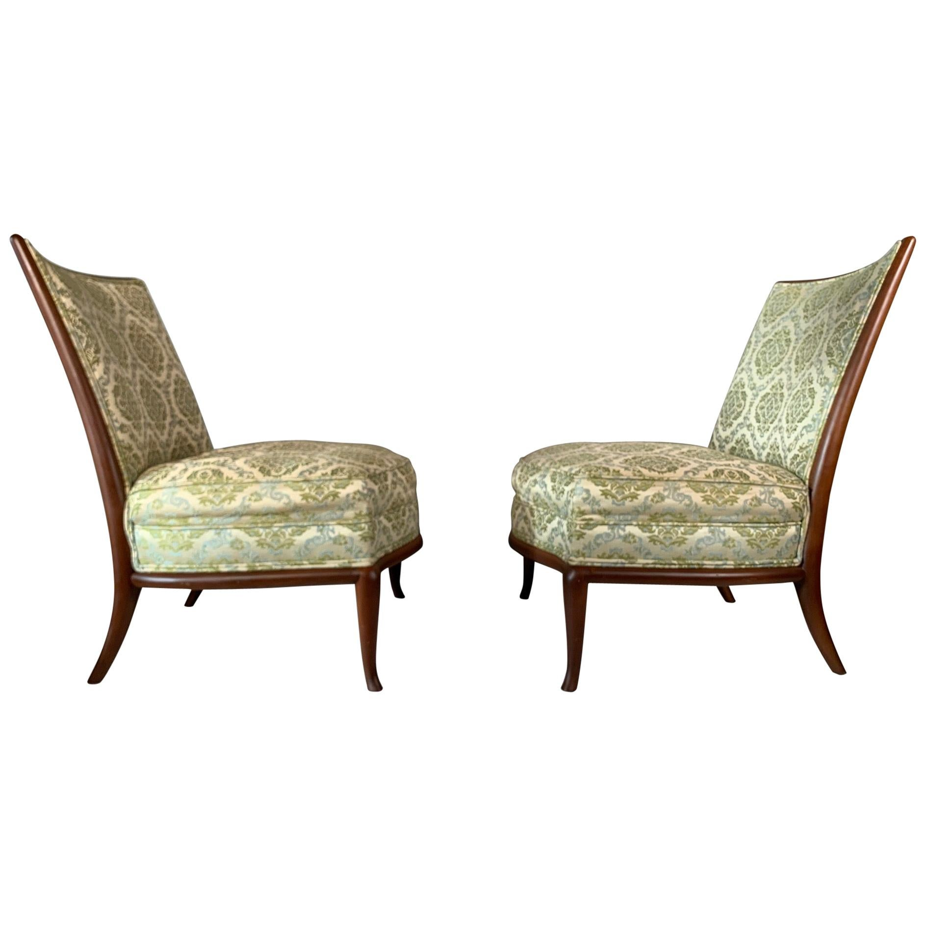 Pair of Unusual Slipper Chairs by T.H. Robsjohn-Gibbings Widdicomb, circa 1950s