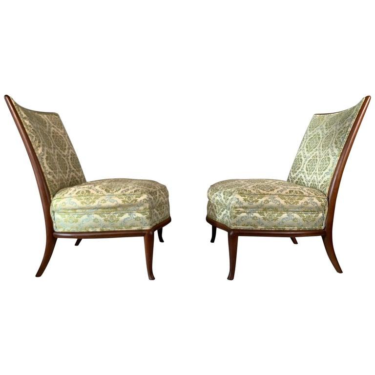 Pair of Unusual Slipper Chairs by T.H. Robsjohn-Gibbings Widdicomb, circa 1950s For Sale