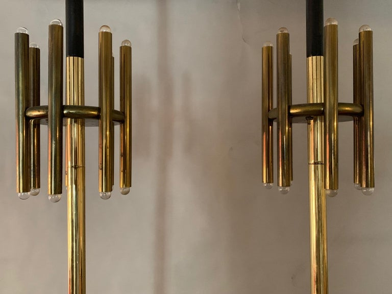 Mid-20th Century Pair of Unusual Tension Pole Lamps For Sale