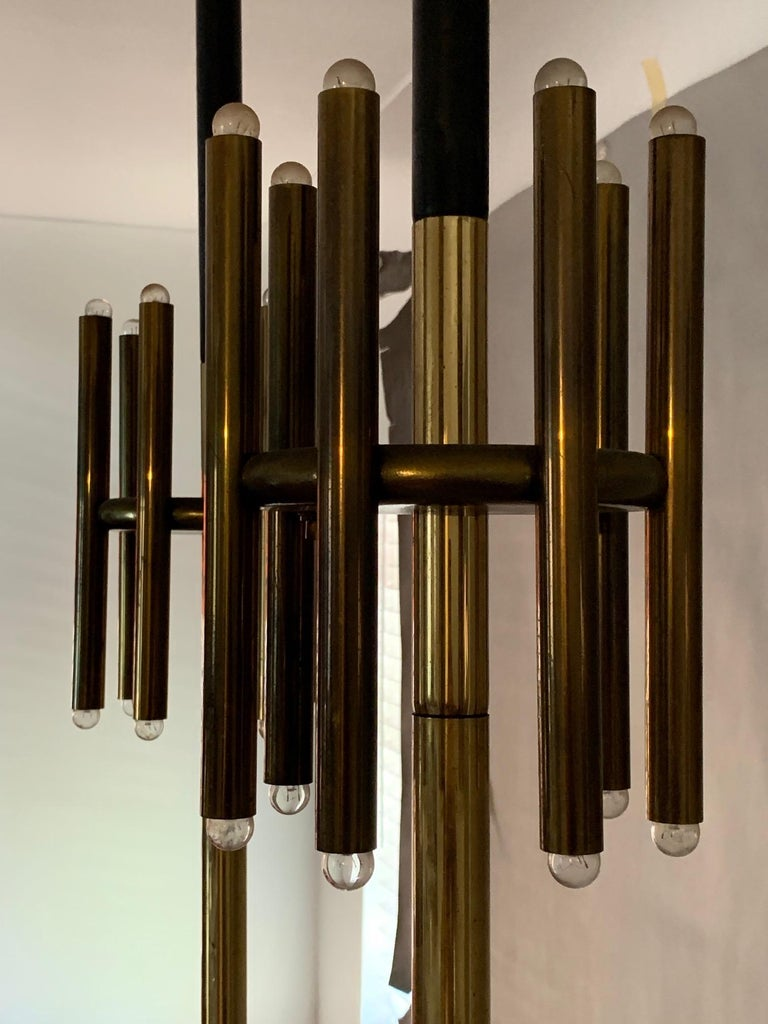 Brass Pair of Unusual Tension Pole Lamps For Sale