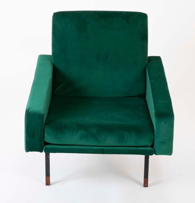 Modern Pair of Upholstered Italian Midcentury Armchairs with Walnut Tipped Legs For Sale