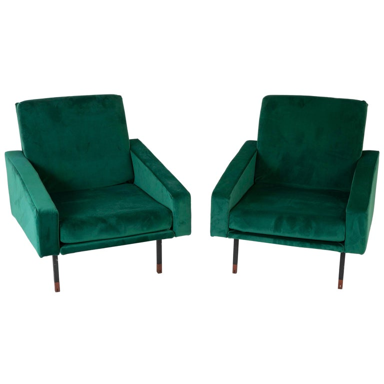 Pair of Upholstered Italian Midcentury Armchairs with Walnut Tipped Legs For Sale