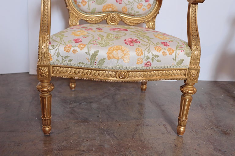 Giltwood Pair of Very Fine Carved and Gilt Early 20th Century Louis XVI Style Fauteuils For Sale