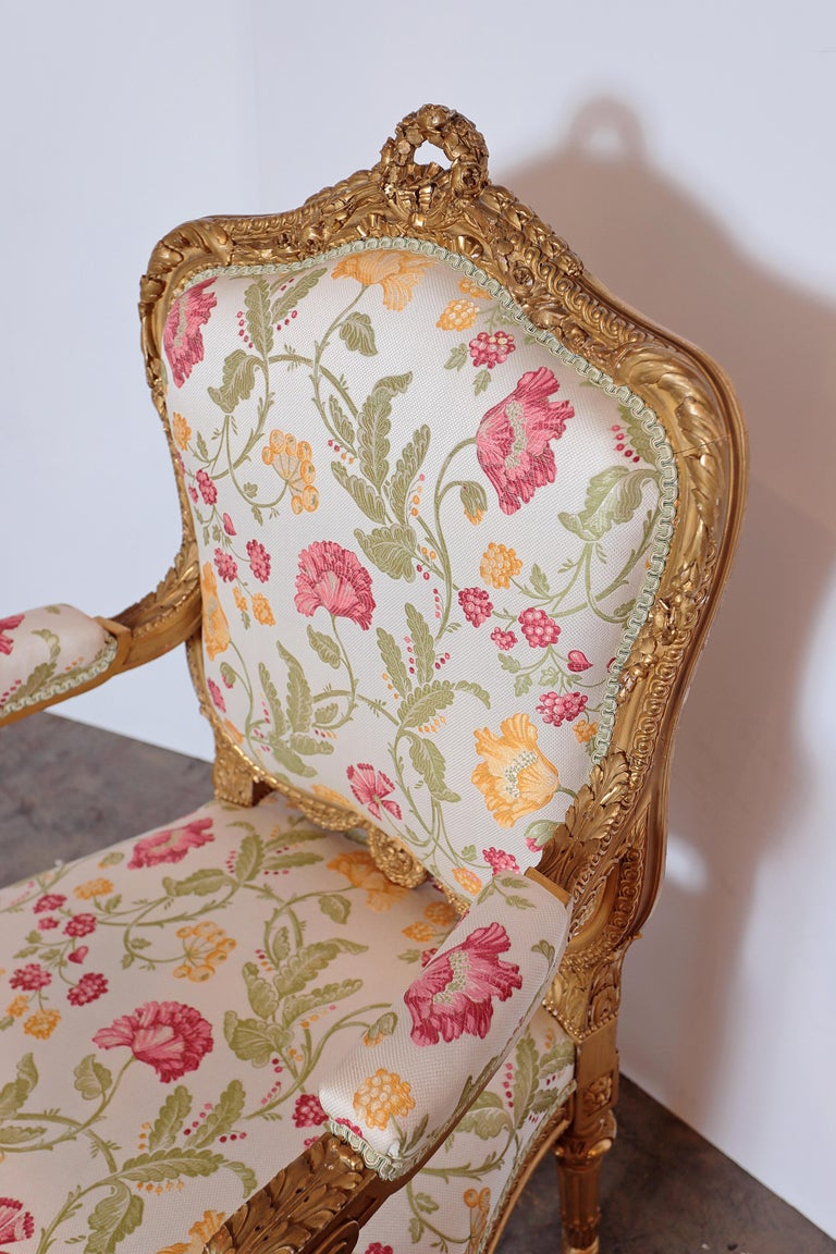 Pair of Very Fine Carved and Gilt Early 20th Century Louis XVI Style Fauteuils For Sale 1
