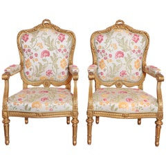 Pair of Very Fine Carved and Gilt Early 20th Century Louis XVI Style Fauteuils