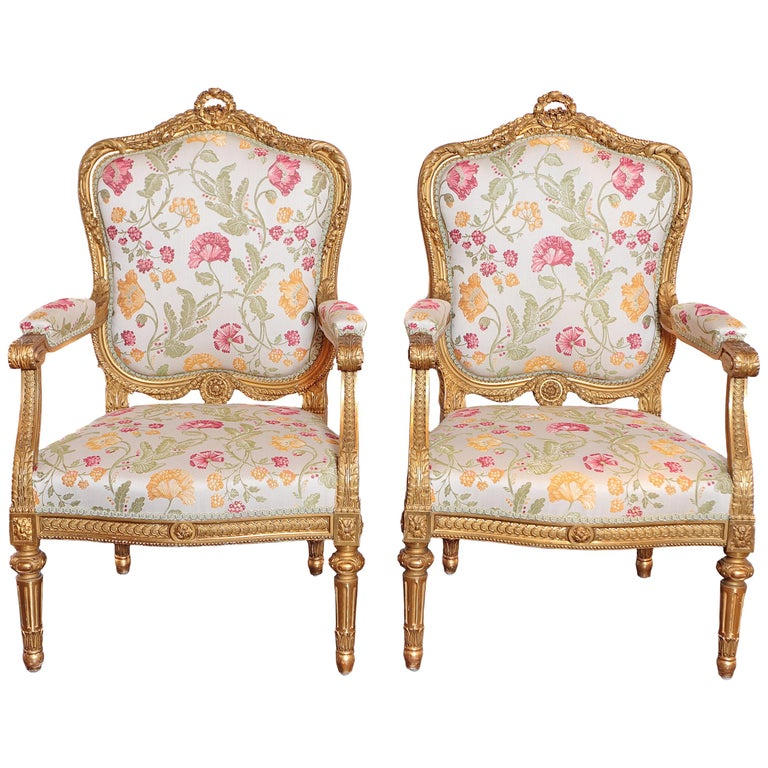 Pair of Very Fine Carved and Gilt Early 20th Century Louis XVI Style Fauteuils For Sale