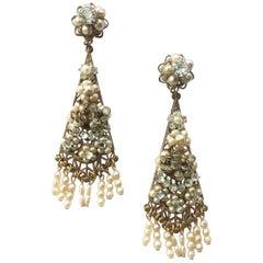 A pair of very long pearl and paste drop earrings, Robert de Mario, USA, 1950s