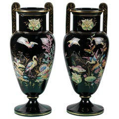 Pair of Victorian Black Vases with Enamel Paint, England