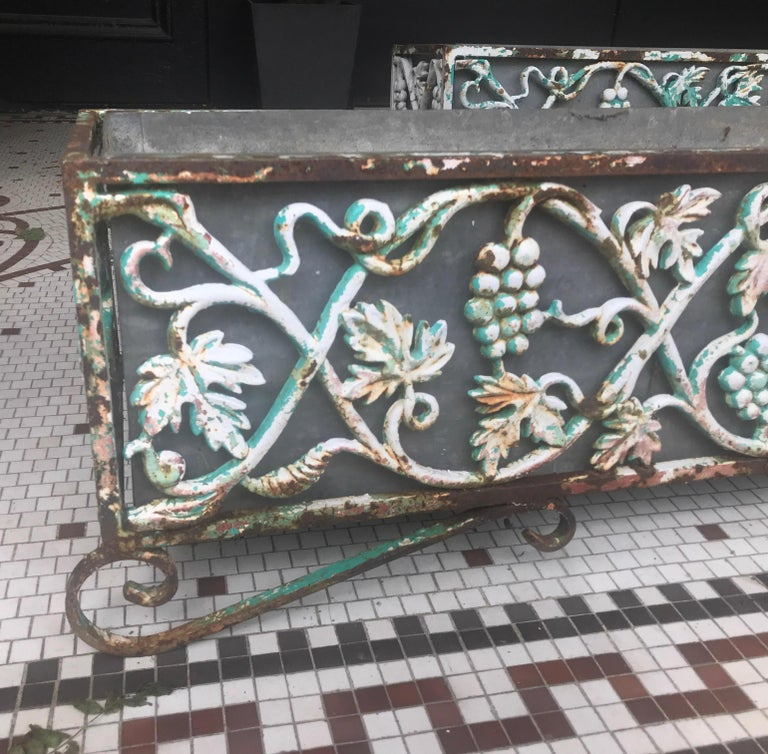 Pair of Victorian Cast Iron Long Planters For Sale 5