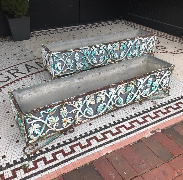 Great pair of early 20th century cast iron planters with galvanized steel liners. The cast iron planters in grape vine and leaf design fitted with galvanized steel liners. Each showing weathered surface and different colors of layered paint.