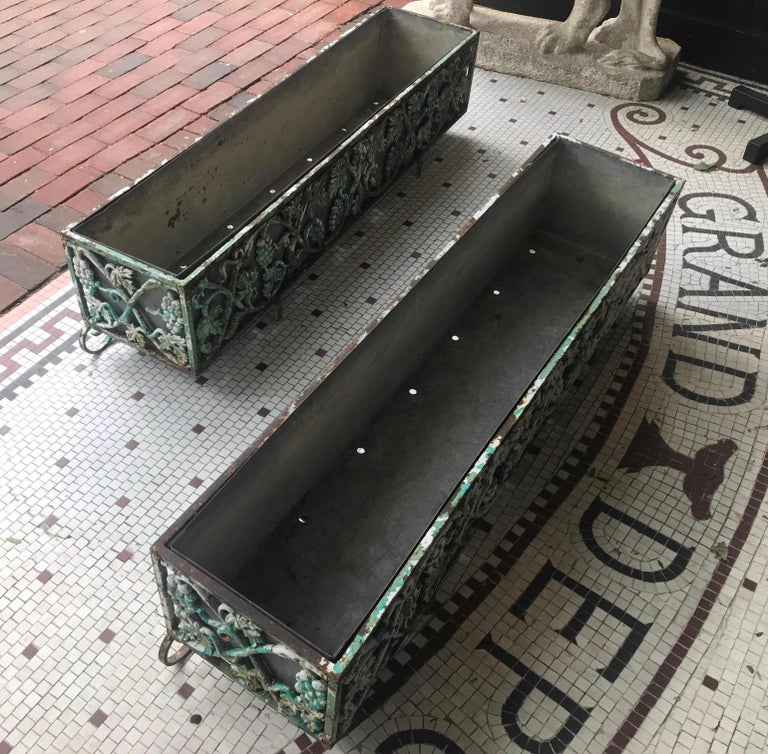 American Pair of Victorian Cast Iron Long Planters For Sale