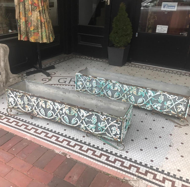 Pair of Victorian Cast Iron Long Planters In Good Condition For Sale In Lambertville, NJ