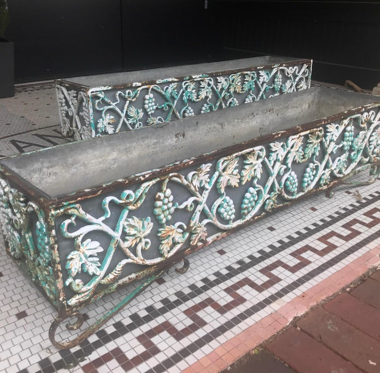 20th Century Pair of Victorian Cast Iron Long Planters For Sale
