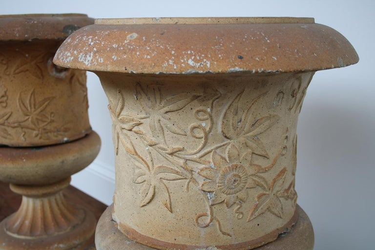 Scottish Pair of Victorian Clay Garden Urns on Pedestals For Sale
