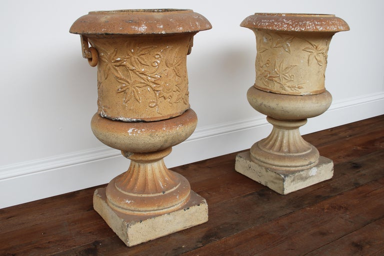 Pair of Victorian Clay Garden Urns on Pedestals In Good Condition For Sale In Manchester, GB