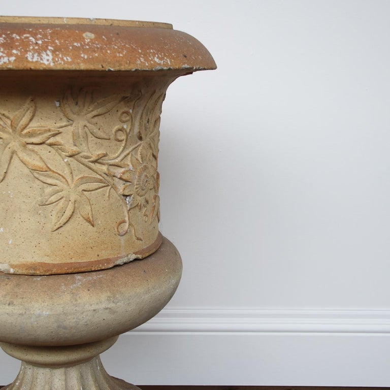 19th Century Pair of Victorian Clay Garden Urns on Pedestals For Sale