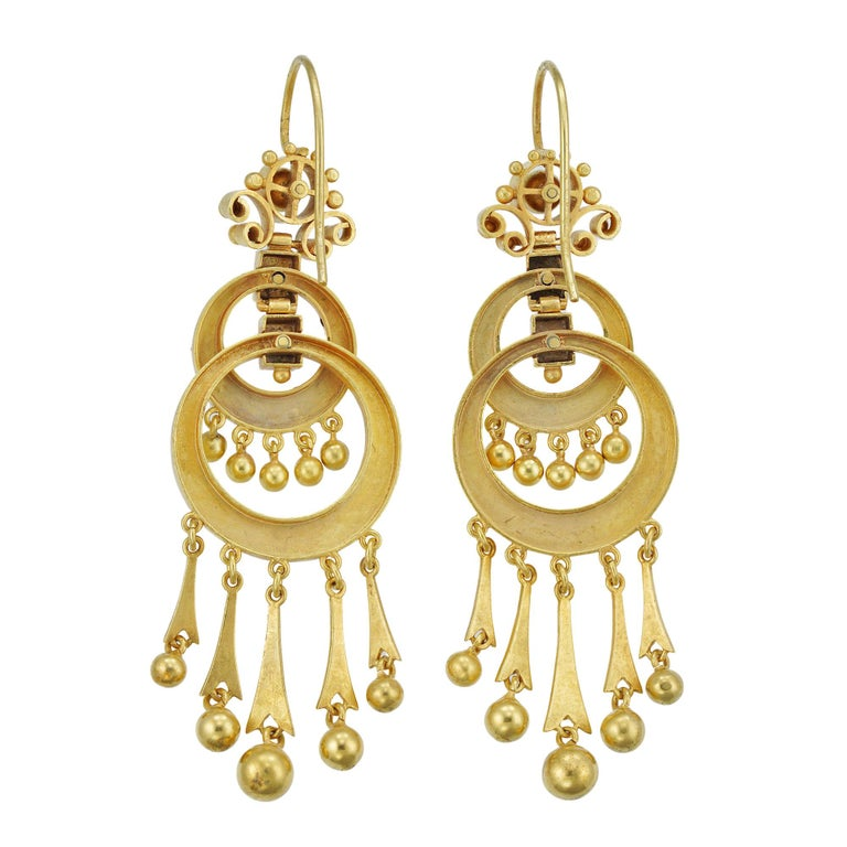 Pair of Victorian Gold Drop Earrings In Excellent Condition For Sale In London, GB
