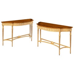 Pair of Victorian Hepplewhite Style Satinwood Console Tables