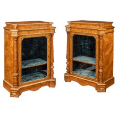 Pair of Victorian Satinwood Display Cabinets Attributed to Holland and Sons