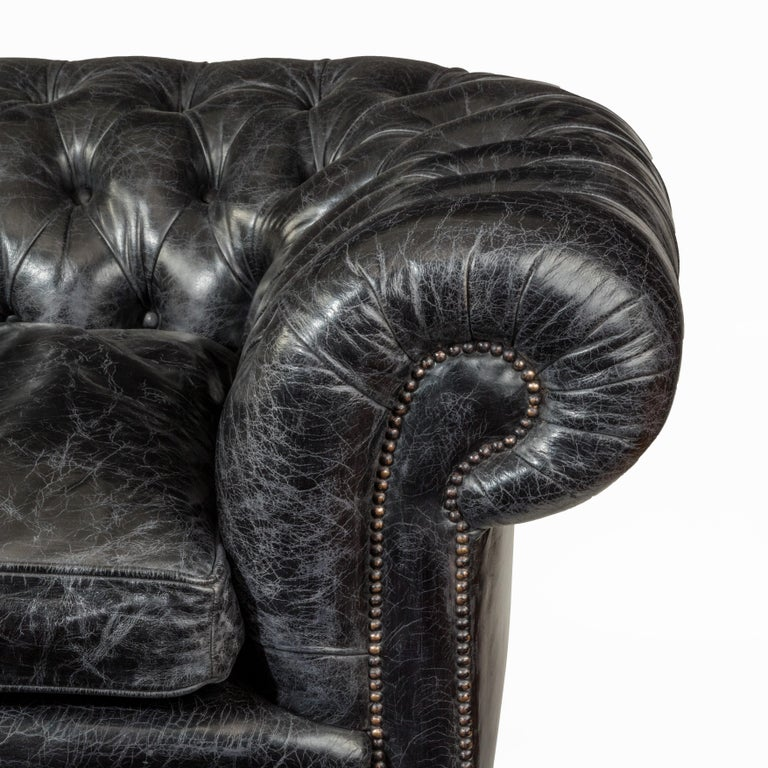 Leather Pair of Victorian Three-Seat Walnut Chesterfield Sofas For Sale