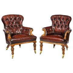 Pair of Victorian Walnut Library Armchairs