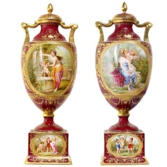 Pair of Vienna Style Covered Urns, Late 19th Century
