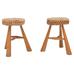 Pair of Vintage 1950s French Rustic Stools with Braided Rush Rope Seat
