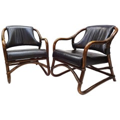 Pair of Vintage Black Leather and Cane Easy Chairs Attributed to Rohe