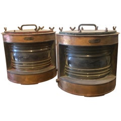 Pair of Vintage Copper and Brass Italian Boat Lamps, circa 1950